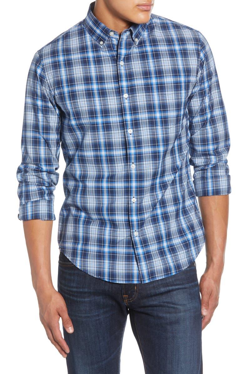 BONOBOS Slim Fit Plaid Button-Down Sport Shirt, Main, color, COBURN PLAID - PALACE BLUE