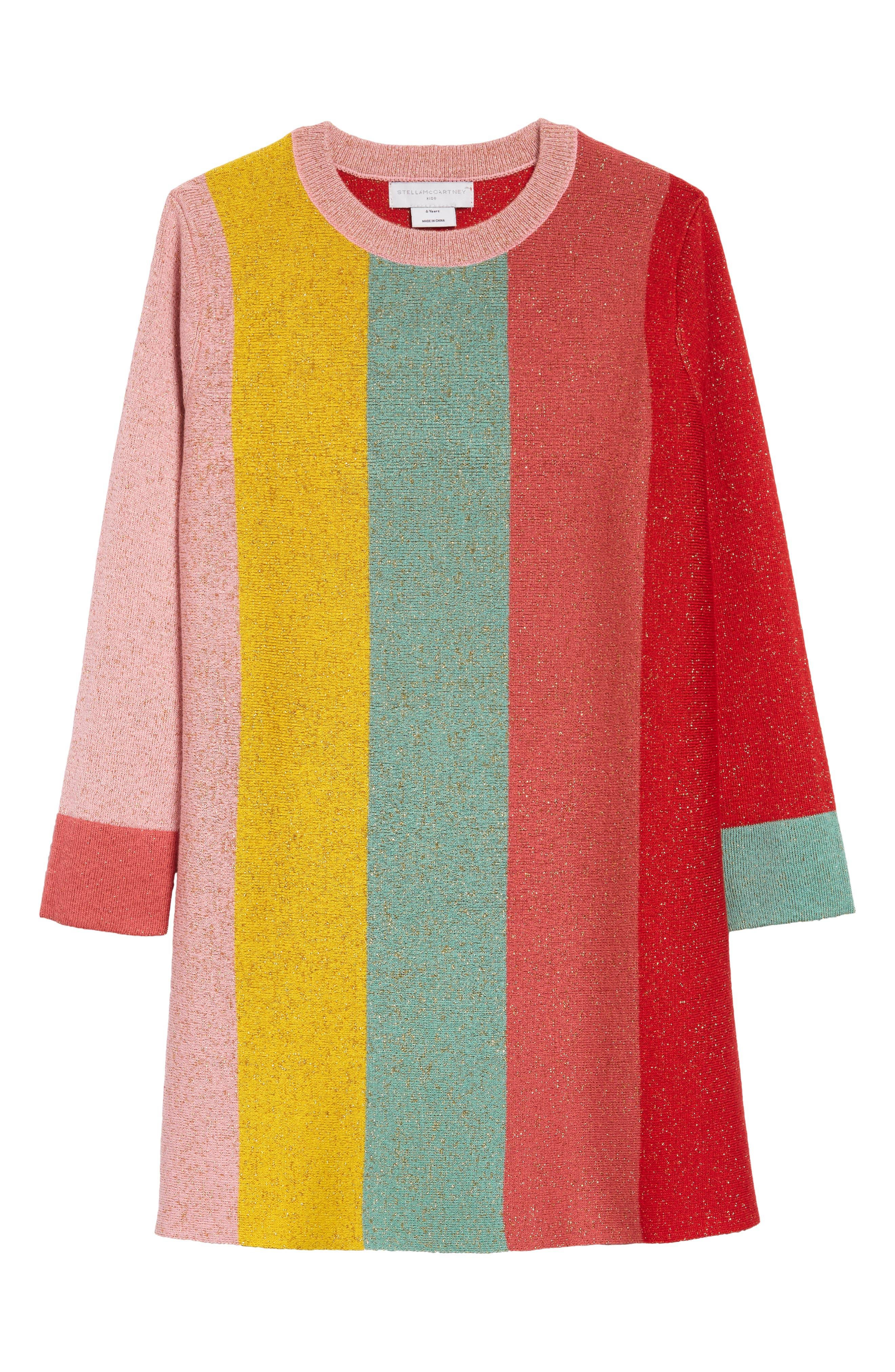 60s 70s Kids Costumes & Clothing Girls & Boys Girls Stella Mccartney Colorblock Metallic Stripe Shift Dress $88.20 AT vintagedancer.com