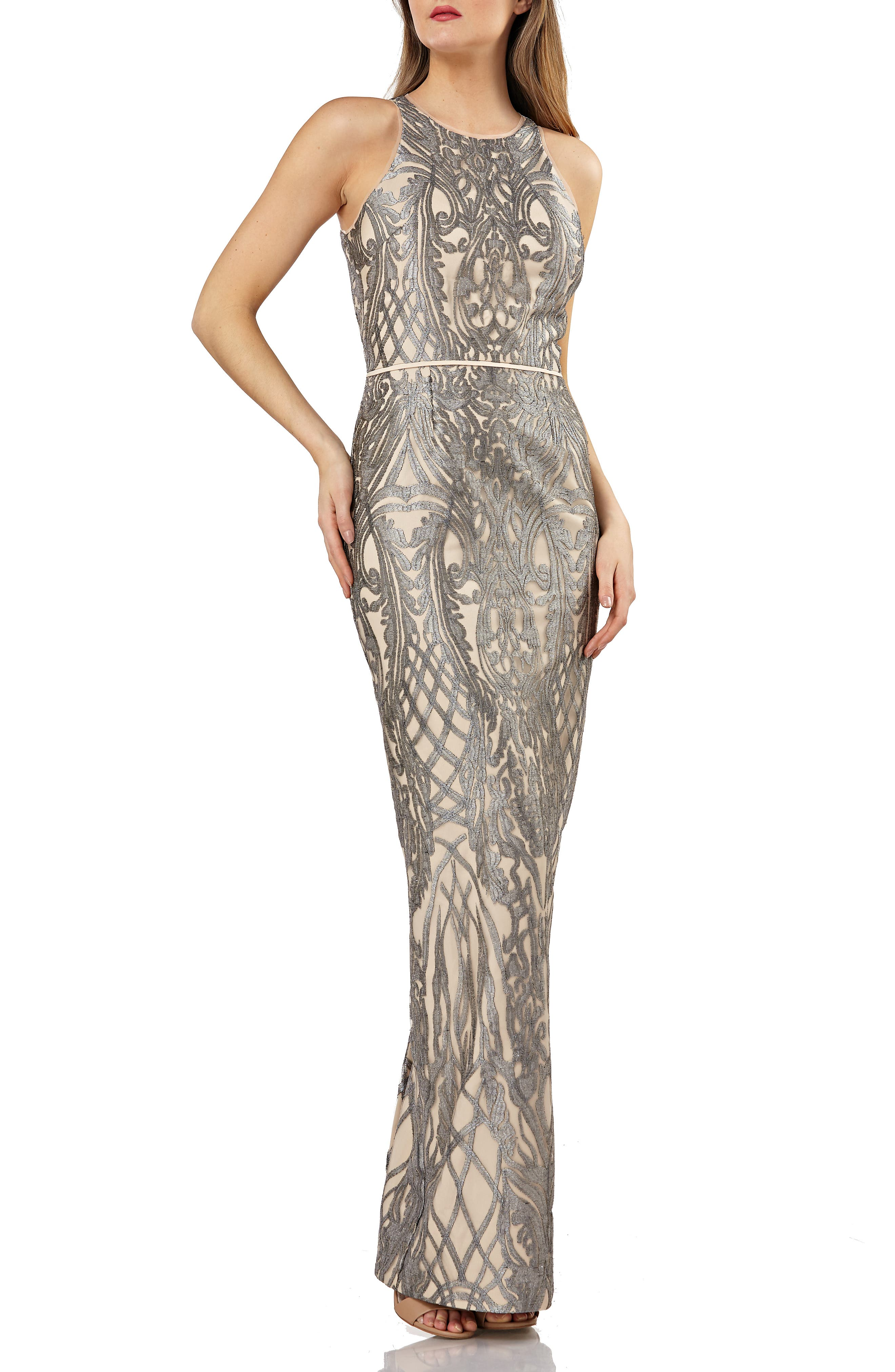 Js Collections Metallic Embroidered Halter Gown, Grey
