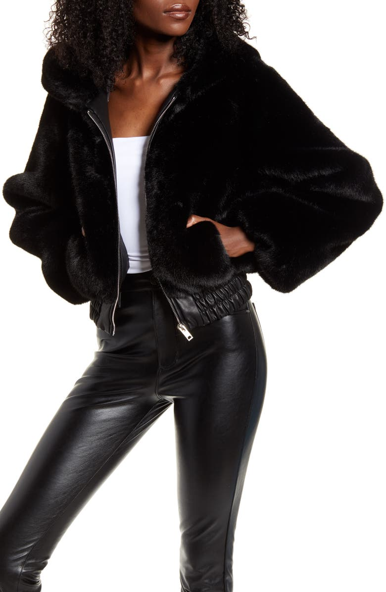 I.AM.GIA . Hooded Crop Faux Fur Jacket, Main, color, BLACK