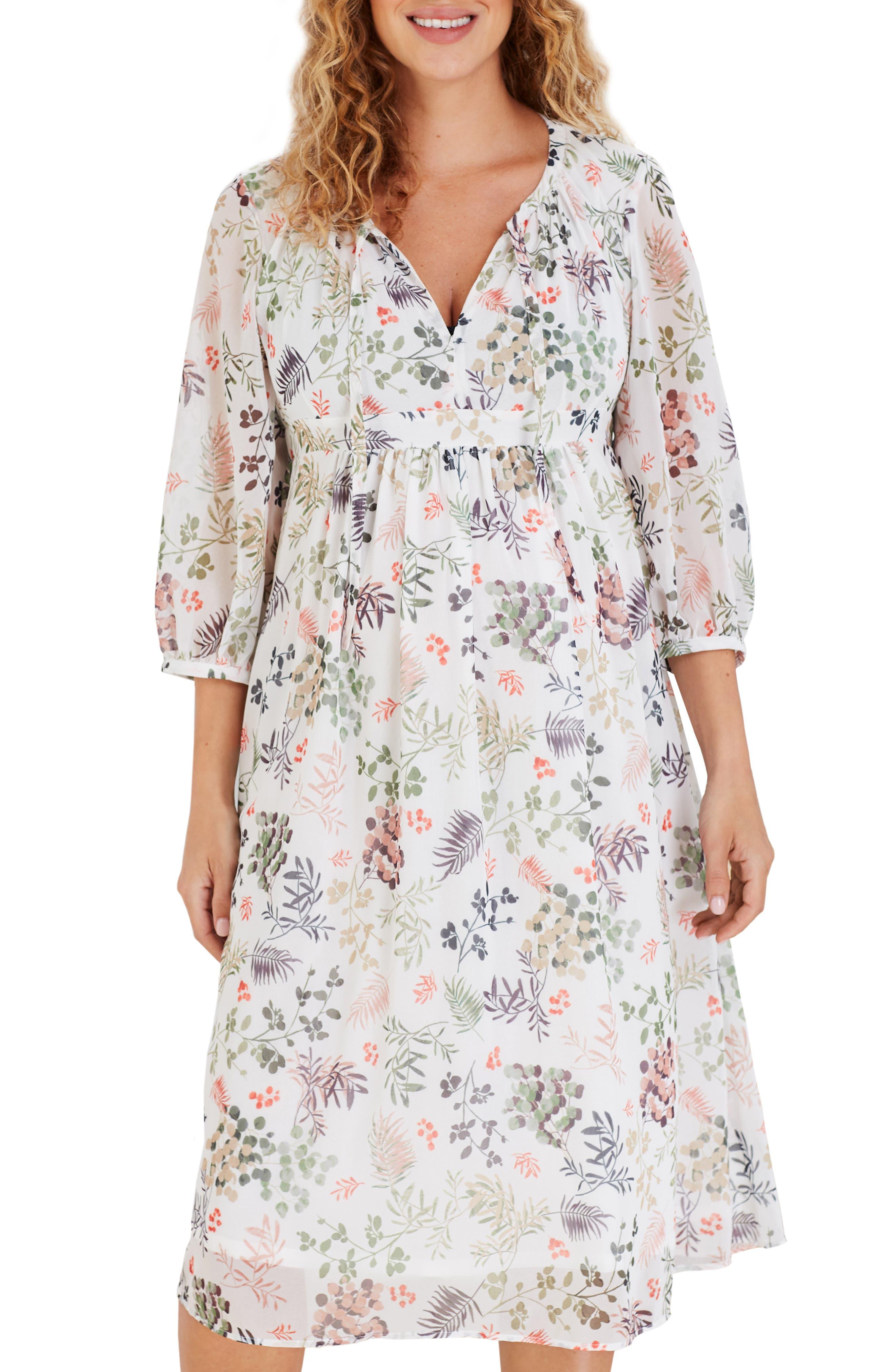 Posie Leaf Print Maternity Dress