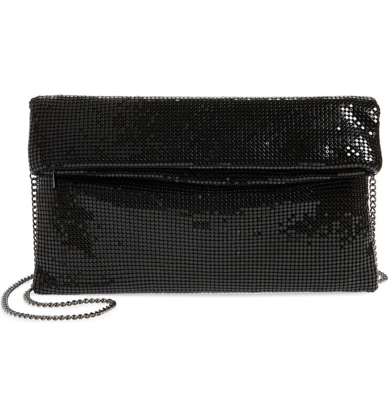 NORDSTROM Metallic Mesh Foldover Clutch, Main, color, 001