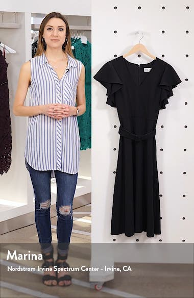 Flutter Sleeve Belted Crepe Midi Dress, sales video thumbnail