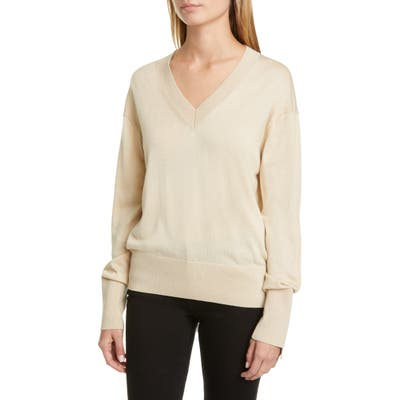 Burberry Navuloa Logo Tape Merino Wool & Silk Sweater, Beige