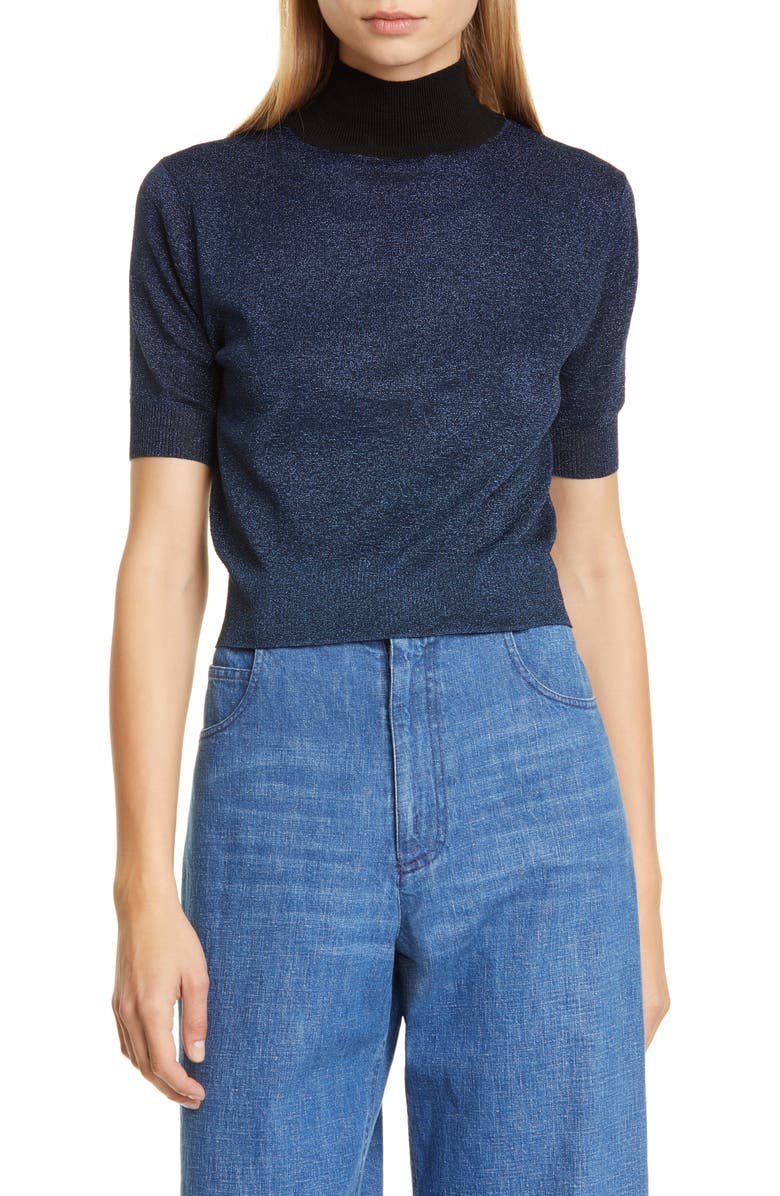 RACHEL COMEY Crop Knit Tee, Main, color, BLUE