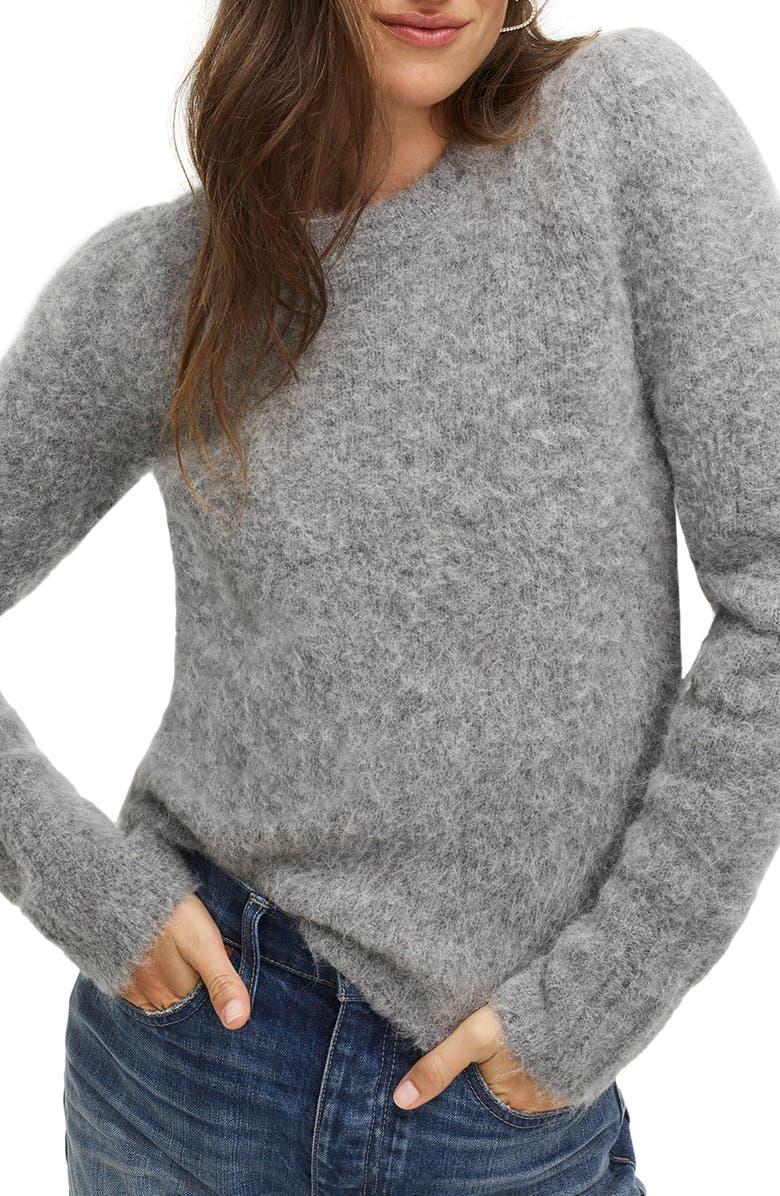 J.CREW Puff Sleeve Fuzzy Crewneck Sweater, Main, color, 020