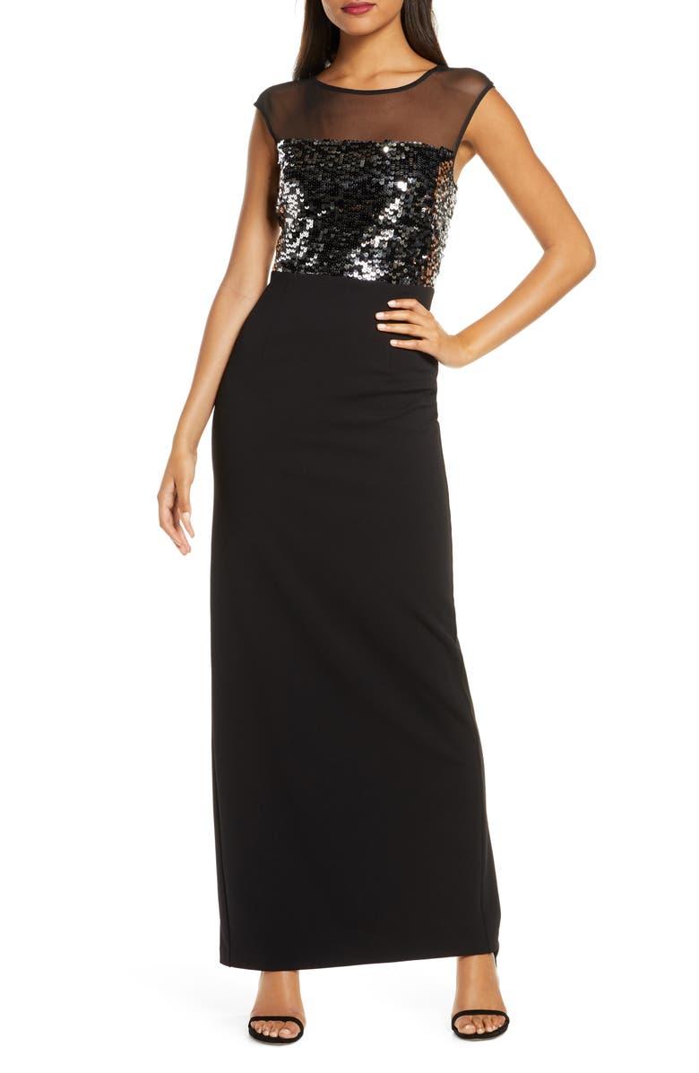 VINCE CAMUTO Sequin & Mesh Bodice Column Gown, Main, color, BLACK SILVER