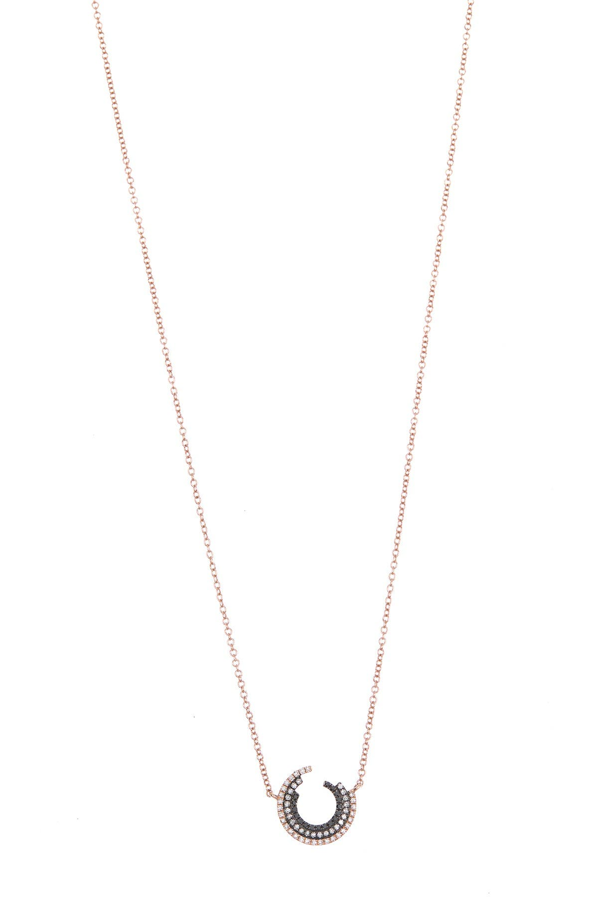 Image of EF Collection 14K Rose Gold Willow Fade Diamond Necklace - 0.19 ctw