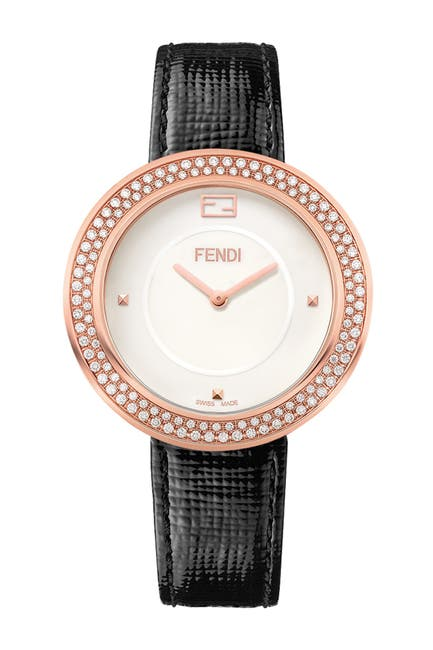 Image of FENDI Women's Diamond Pave Leather Strap Watch, 36mm - 0.83 ctw