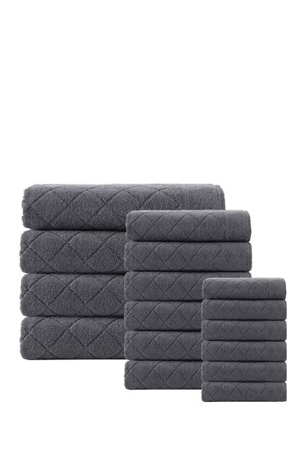 Image of ENCHANTE HOME Glossy Turkish Cotton 16-Piece Towel Set - Anthracite