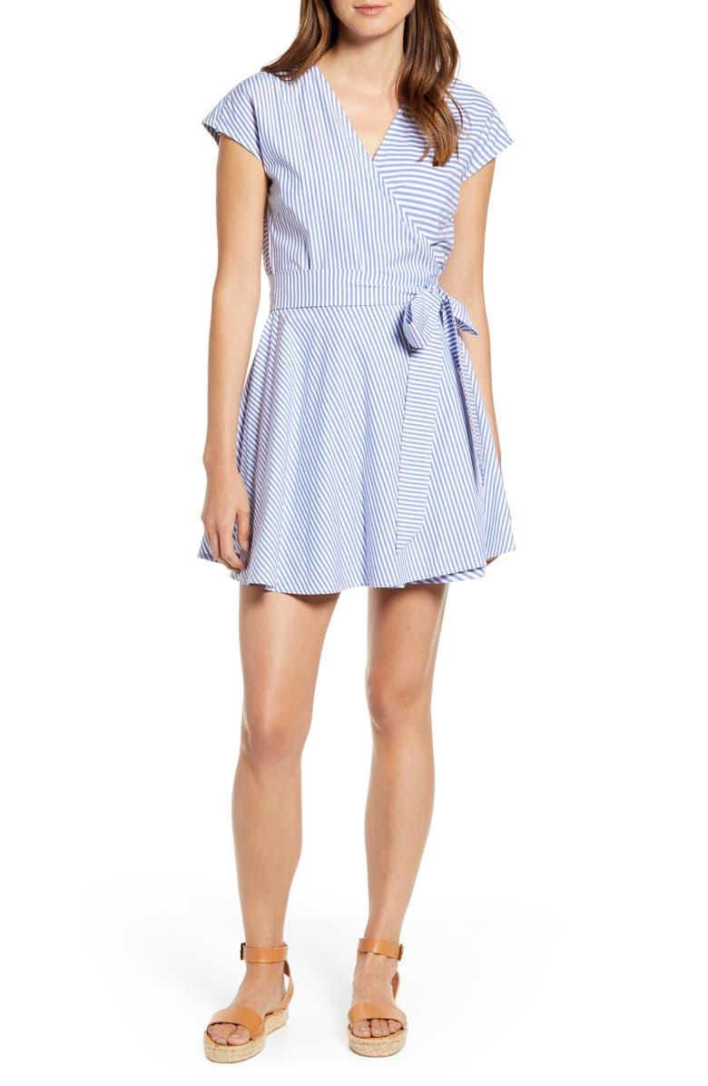 VINEYARD VINES Grier Mix Stripe Wrap Dress, Main, color, 400