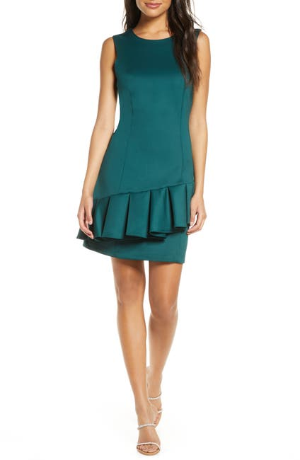 Image of Donna Ricco Round Neck Sleeveless Ruffle Sheath Dress