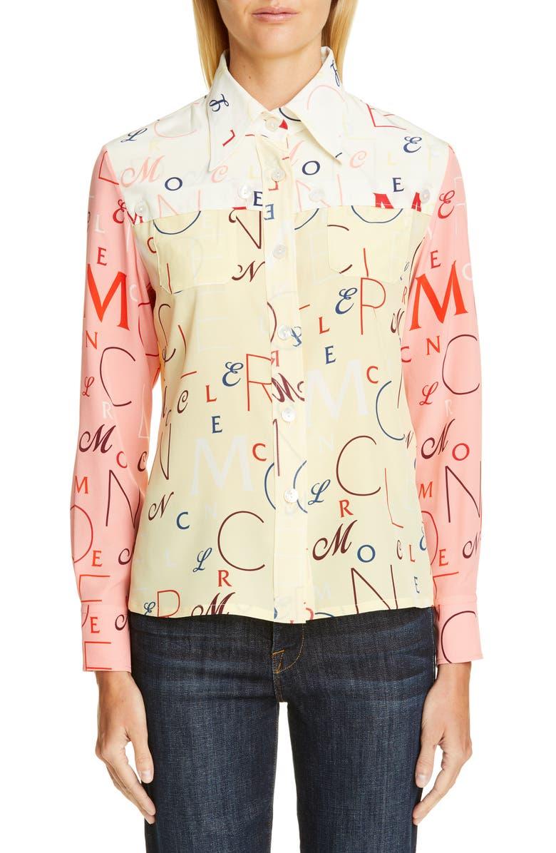 MONCLER Genius by Moncler x 2 Moncler 1952 Letter Print Silk Shirt, Main, color, 700
