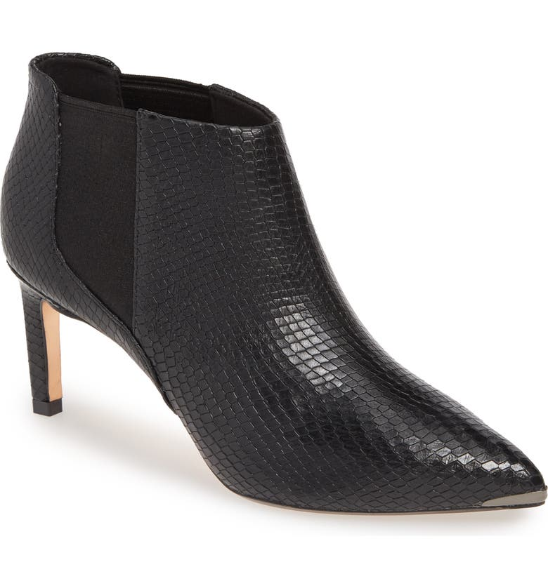 TED BAKER LONDON Beriini Snake Embossed Pointy Toe Bootie, Main, color, BLACK SNAKE LEATHER