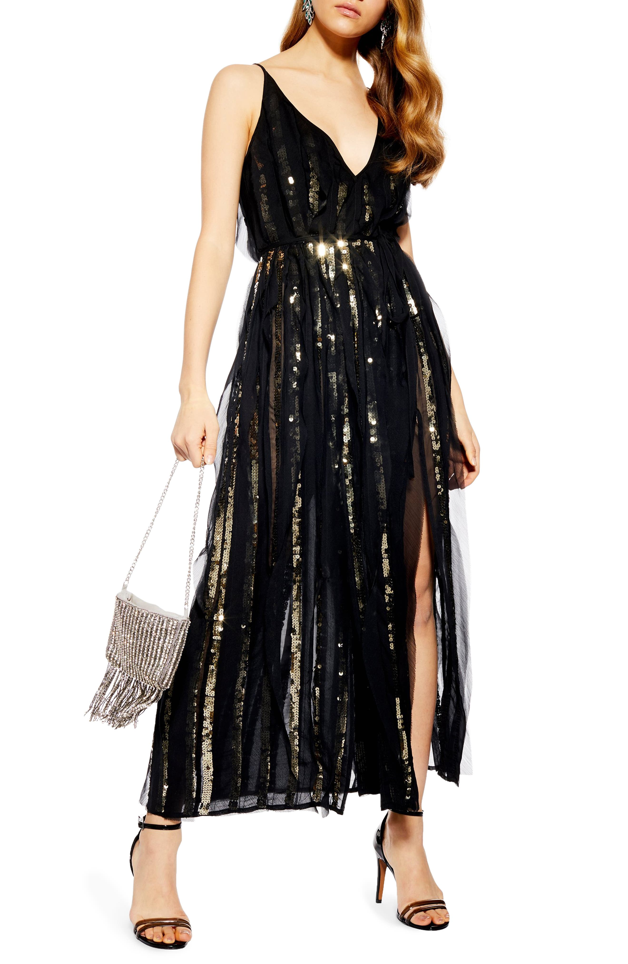 Topshop Sequin Stripe Chiffon Maxi Dress, US (fits like 0) - Black