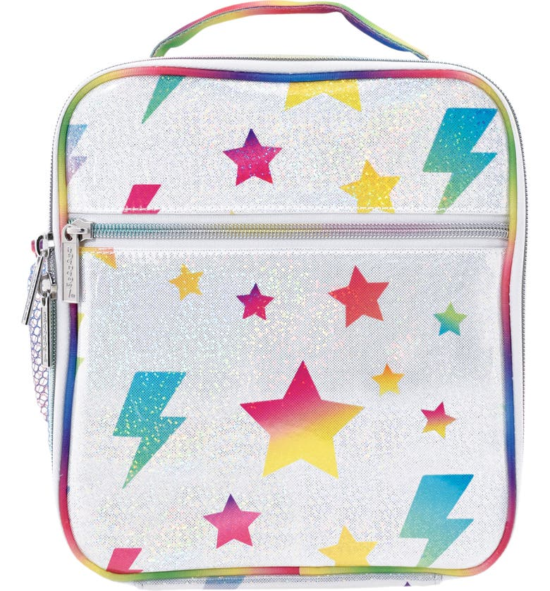 ISCREAM Stars & Lightning Glitter Lunch Tote, Main, color, SILVER