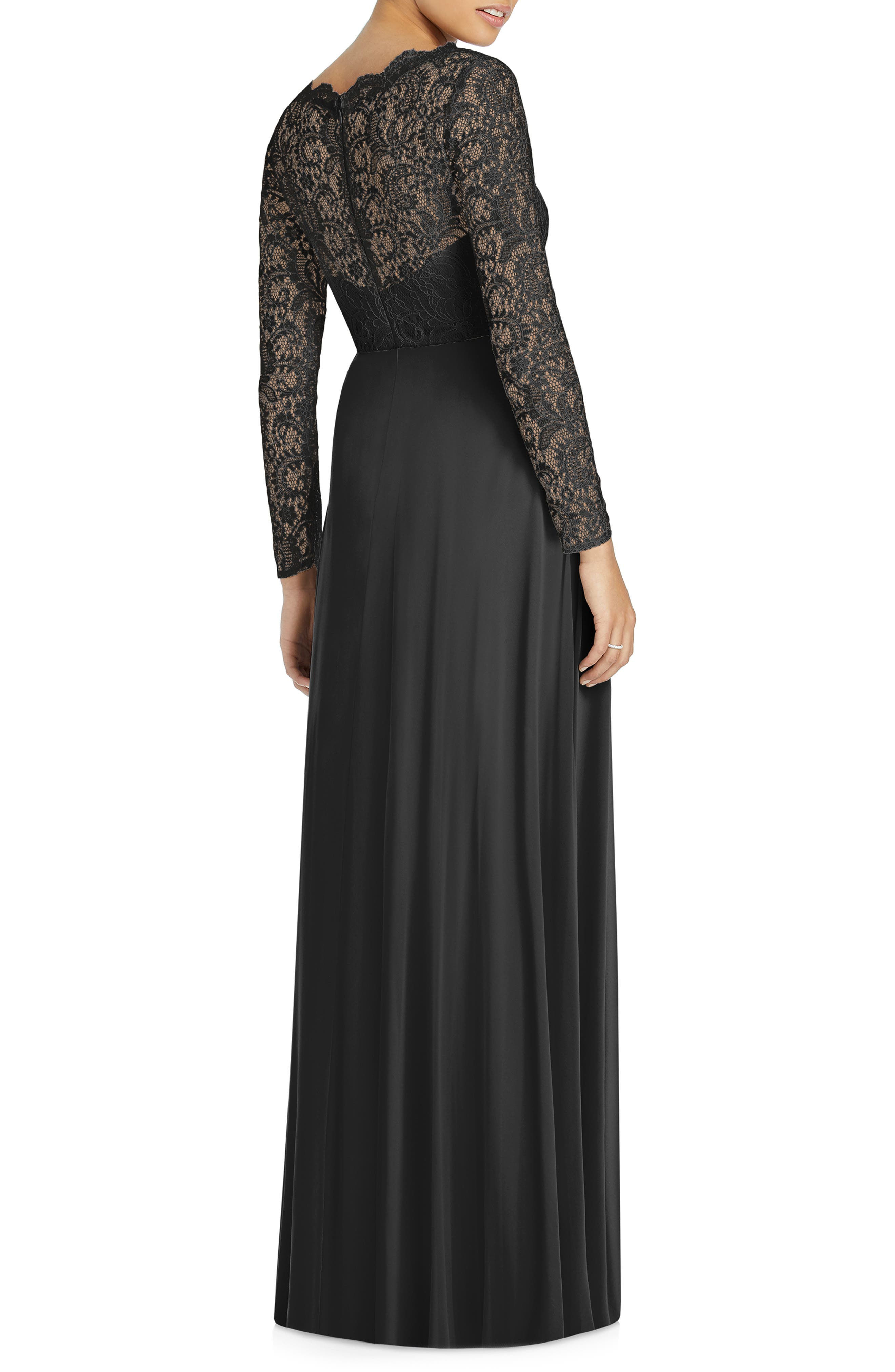 ,                             Long Sleeve Lace & Chiffon Gown,                             Alternate thumbnail 2, color,                             BLACK