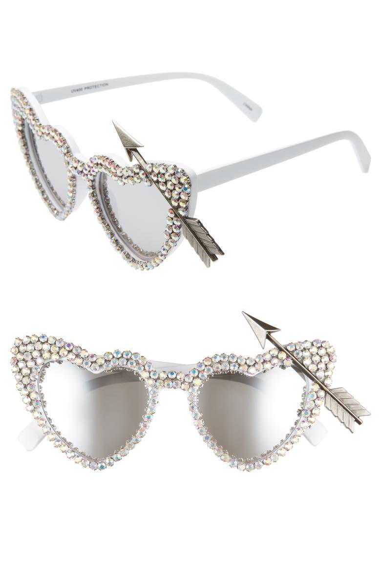 RAD + REFINED Arrow Heart Sunglasses, Main, color, WHITE / SILVER