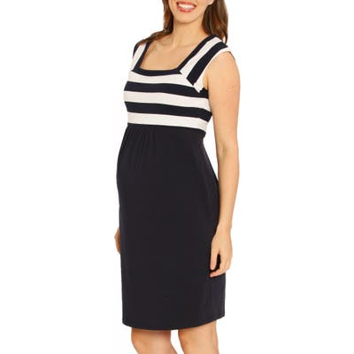 Angel Maternity Fitted Stripe Maternity Dress, Blue