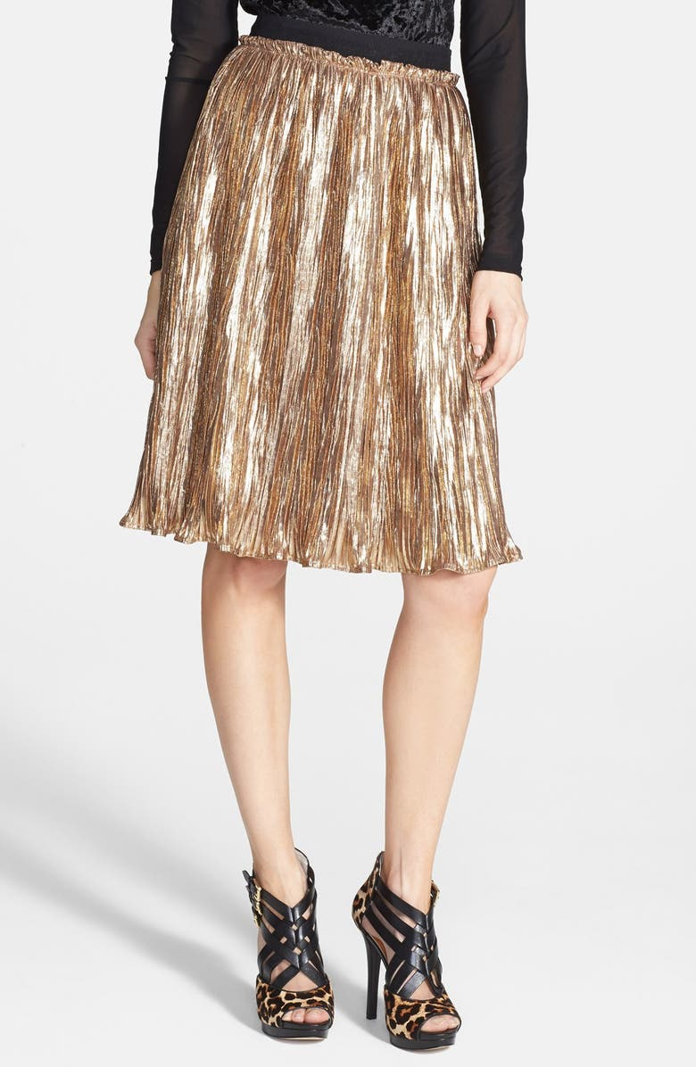 ASTR THE LABEL ASTR Metallic Crinkle Midi Skirt, Main, color, 710