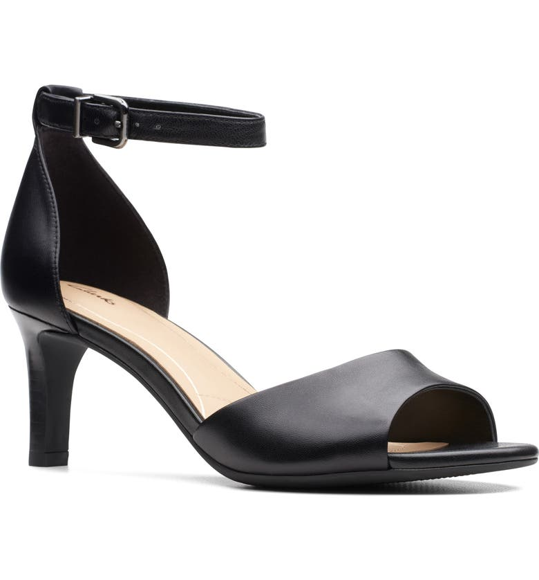 CLARKS<SUP>®</SUP> Laureti Grace Halo Strap Sandal, Main, color, BLACK LEATHER