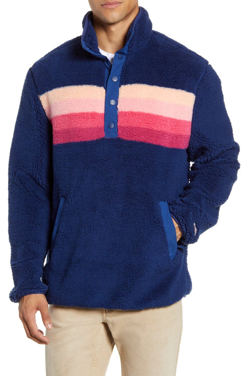 CHUBBIES The Skeason Snap Placket Pullover, Main, color, NAVY