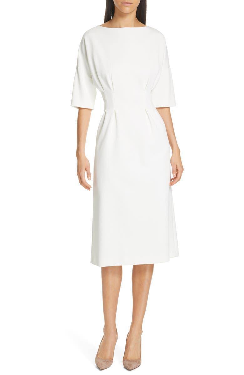 JUDITH & CHARLES Symbol Box Pleat Detail Midi Dress, Main, color, OFF-WHITE