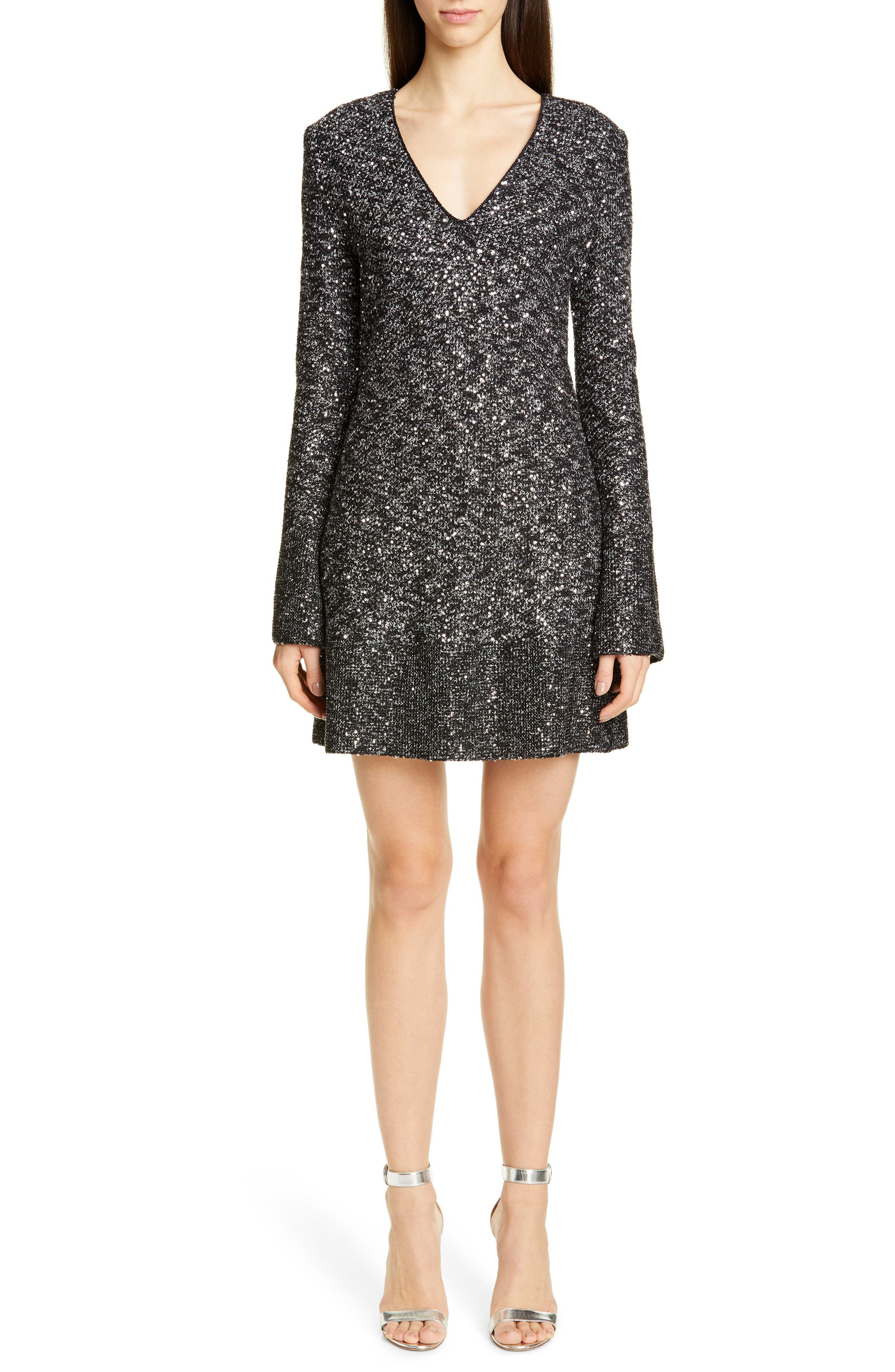 St. John Collection Bejeweled Long Sleeve Texture Knit Cocktail Dress, Black