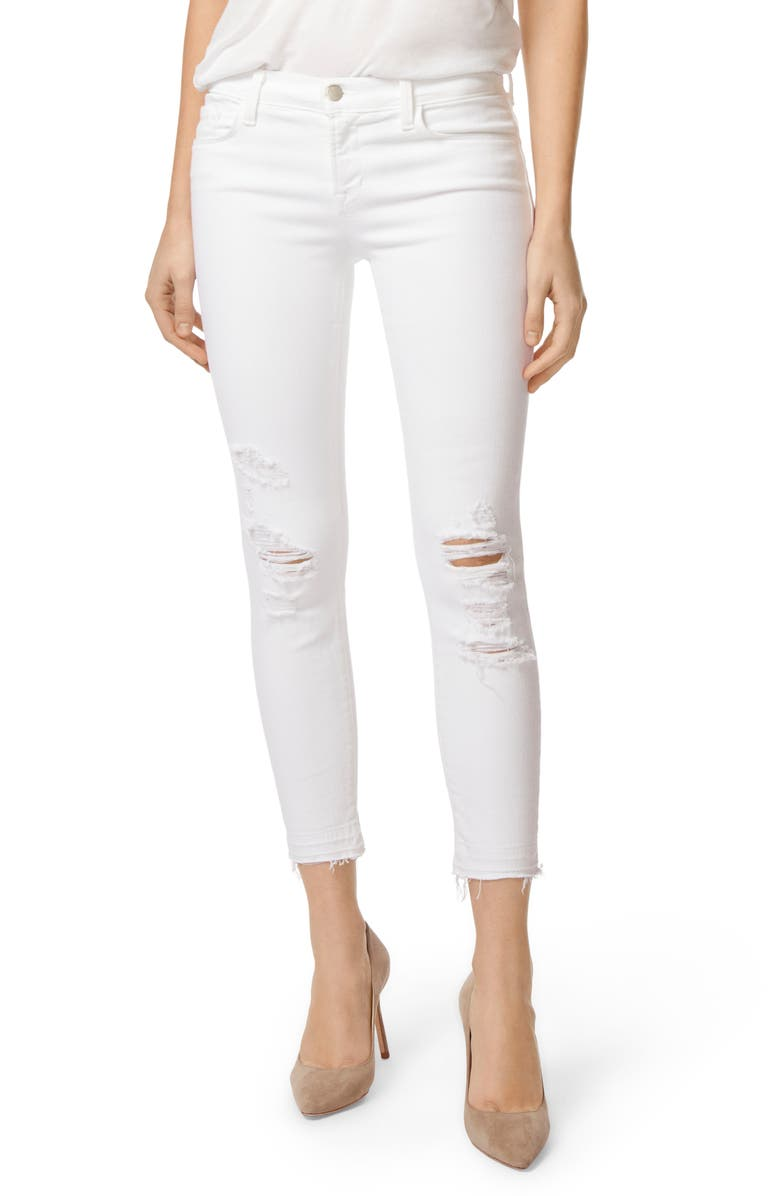 J BRAND 9326 Low Rise Crop Skinny Jeans, Main, color, DEMENTED WHITE DESTRUCTED