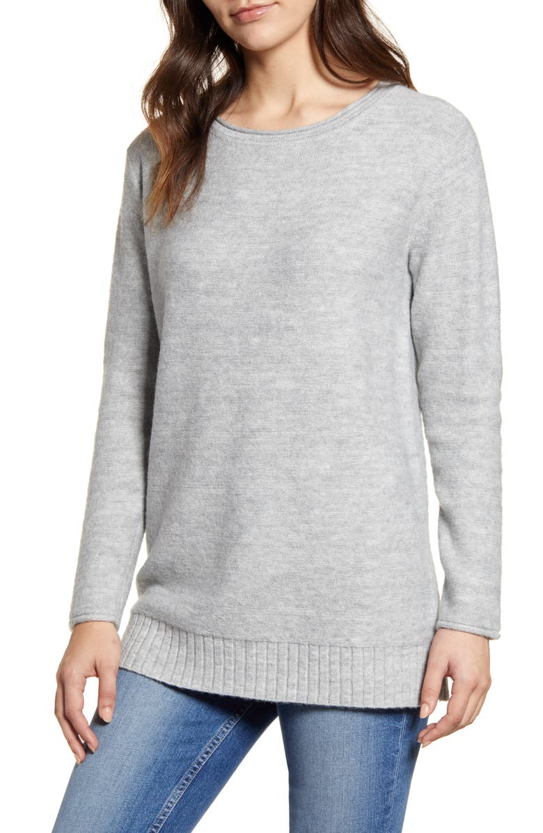 CASLON<SUP>®</SUP> Tunic Sweater, Main, color, GREY HEATHER