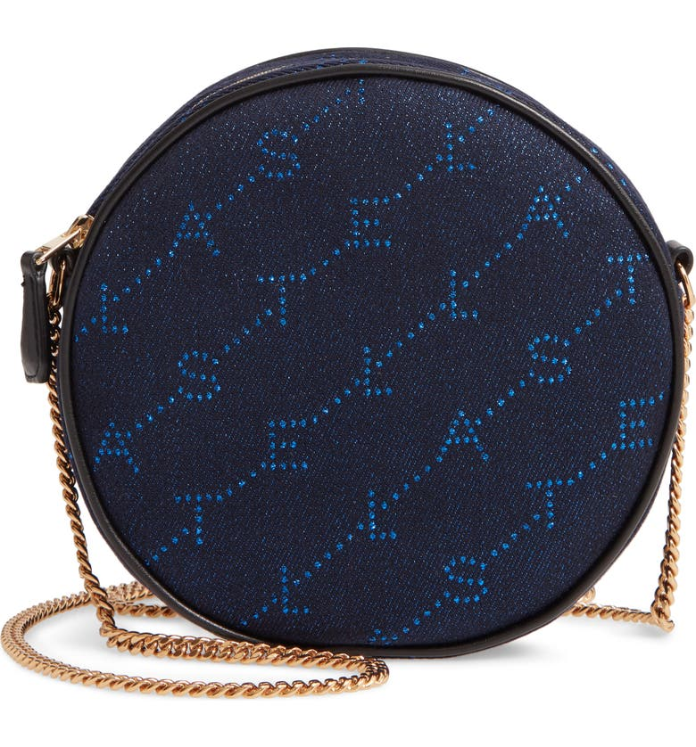 STELLA MCCARTNEY Mini Monogram Metallic Round Bag, Main, color, BLUETTE