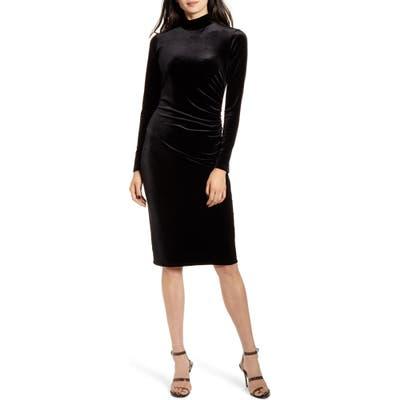 Chelsea28 Long Sleeve Mock Neck Velvet Dress, Black