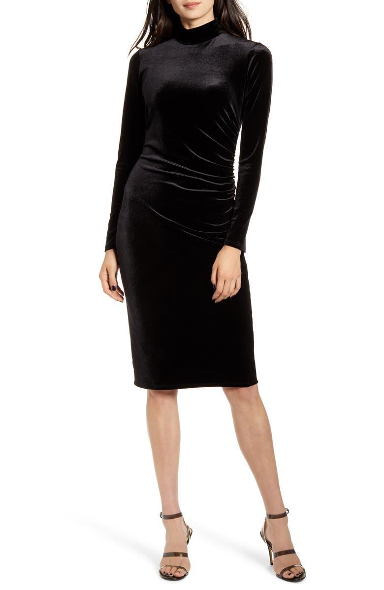 CHELSEA28 Long Sleeve Mock Neck Velvet Dress, Main, color, BLACK