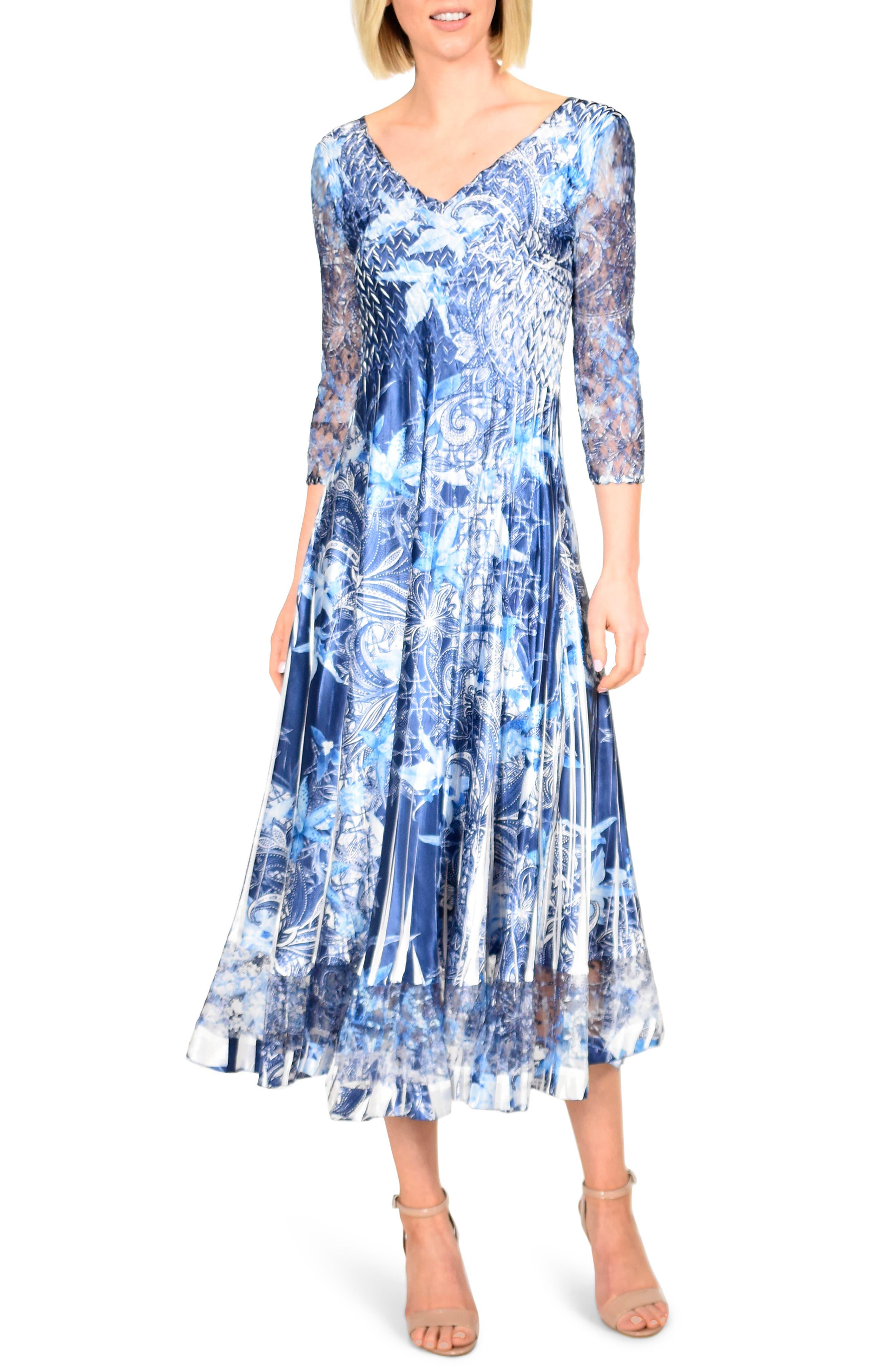Petite Komarov Floral Print Charmeuse Tea Length Dress, Blue