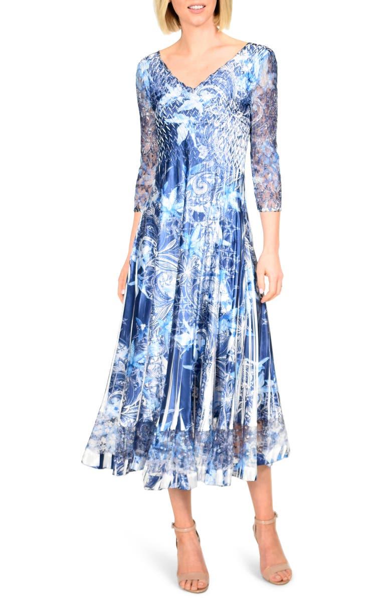 KOMAROV Floral Print Charmeuse Tea Length Dress, Main, color, LAVISH INK