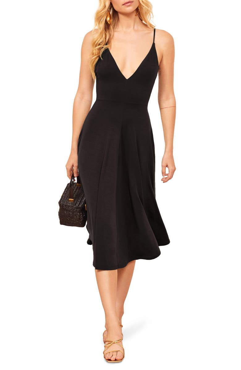 REFORMATION Strada Sleeveless Dress, Main, color, BLACK