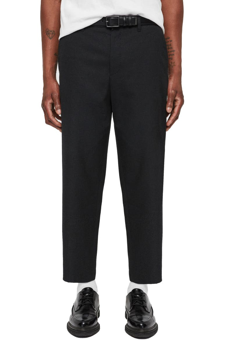 ALLSAINTS Miro Relaxed Fit Wool & Cotton Dress Pants, Main, color, CHARCOAL GREY