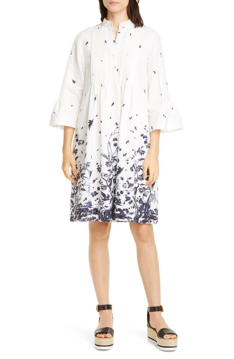 ERDEM Floral Pintuck Cotton Poplin Shift Dress, Main, color, WHITE/ BLUE