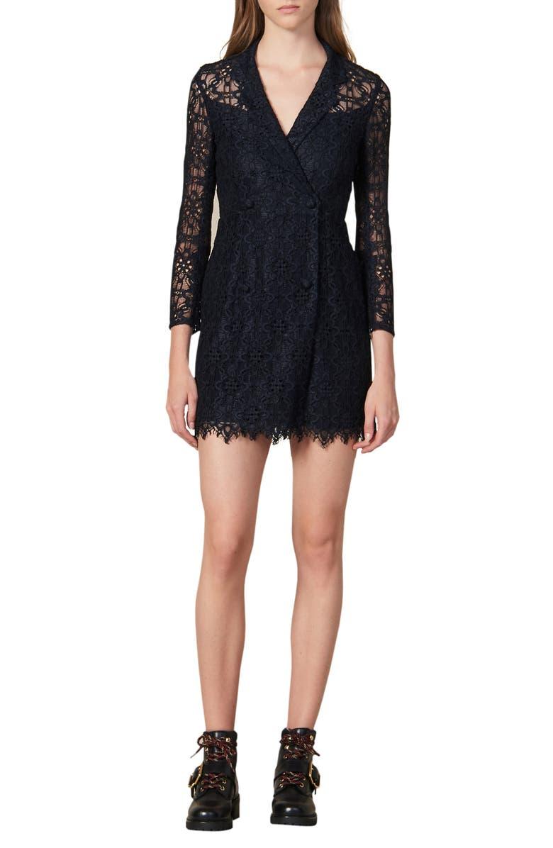 SANDRO Nanie Lace Cotton Blend Minidress, Main, color, 400