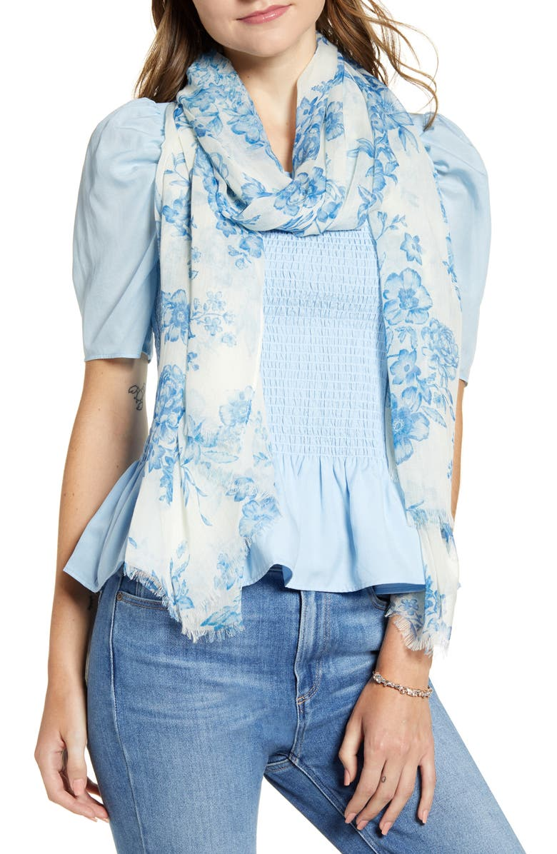 RACHEL PARCELL Floral Modal & Silk Scarf, Main, color, BLUE MEDITERRANEAN BOUQUET