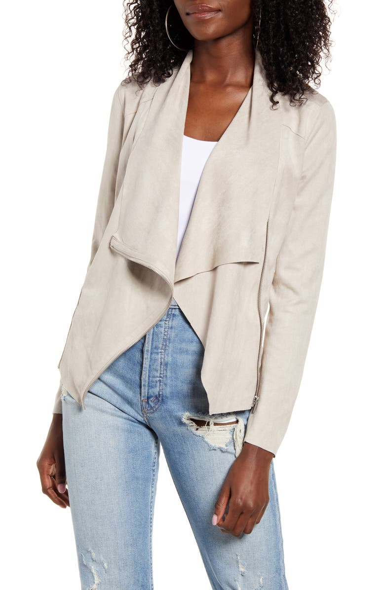 BLANKNYC Faux Suede Drape Front Jacket, Main, color, 022