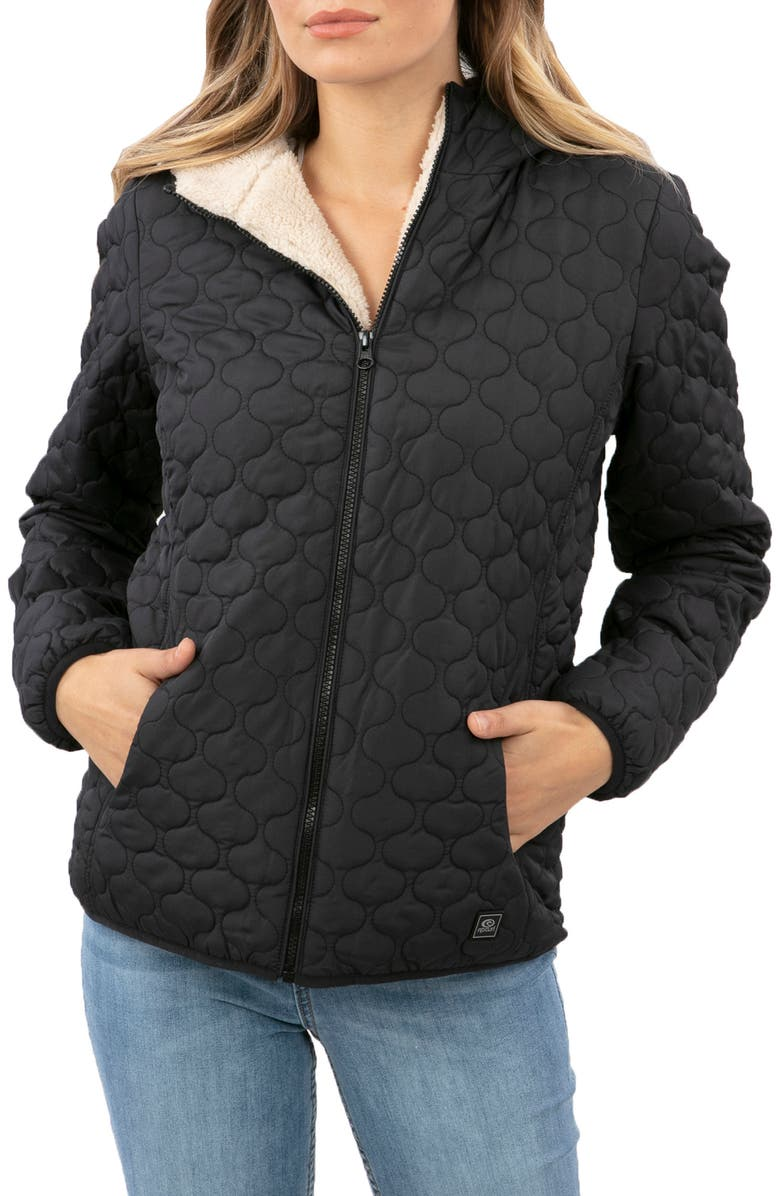 RIP CURL Anoeta II Anti Series Water Repellent Quilted Jacket, Main, color, BLACK