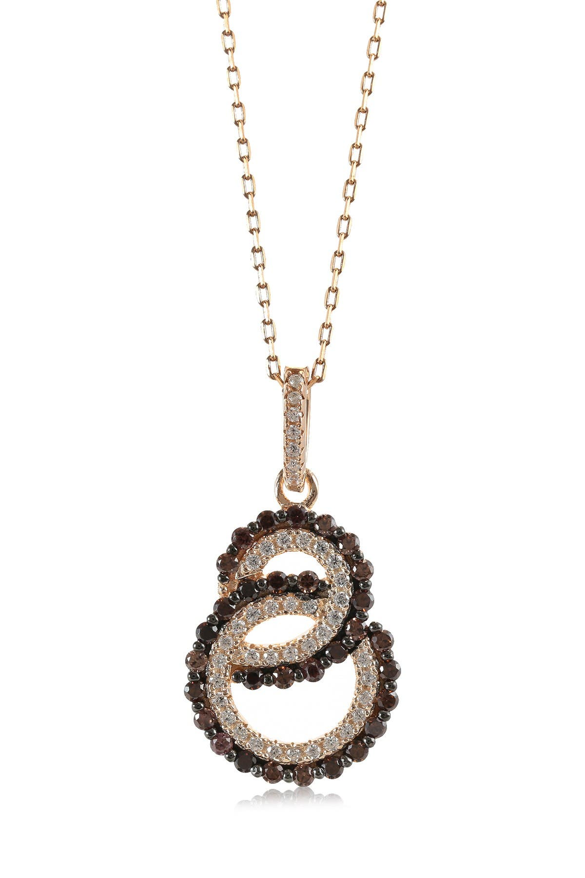 Image of Suzy Levian 14K Rose Gold Plated Sterling Silver Double Loop Pendant Necklace