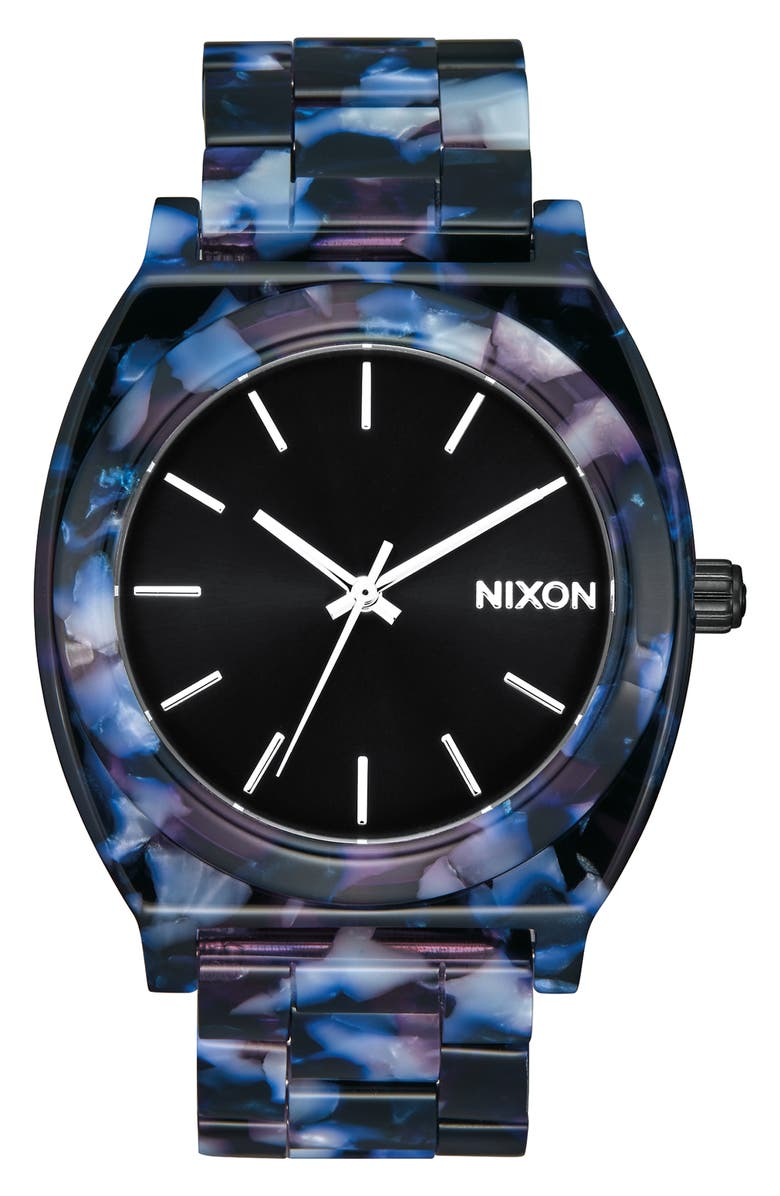 NIXON The Time Teller Acetate Bracelet Watch, 40mm, Main, color, 001