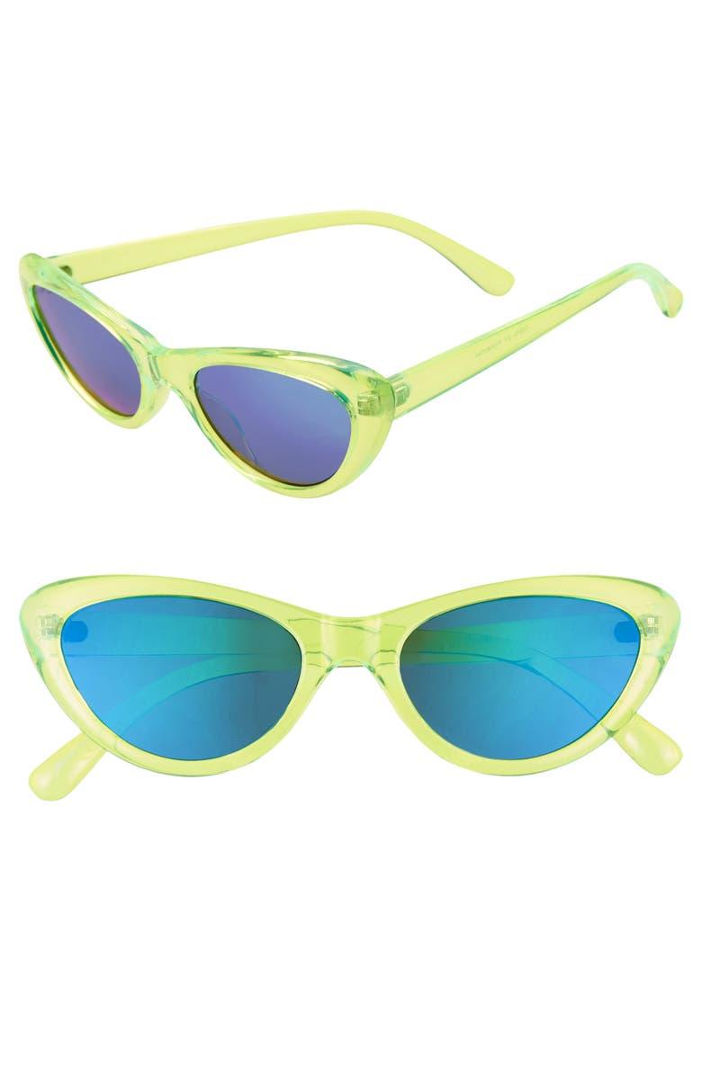 BP. Neon 65mm Mirrored Oversize Cat Eye Sunglasses, Main, color, NEON GREEN