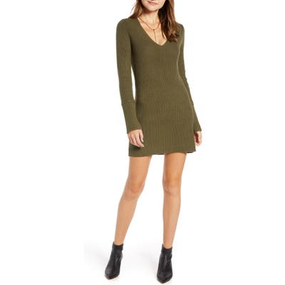 Something Navy Fitted Long Sleeve Tunic Sweater Dress, Green (Nordstrom Exclusive)