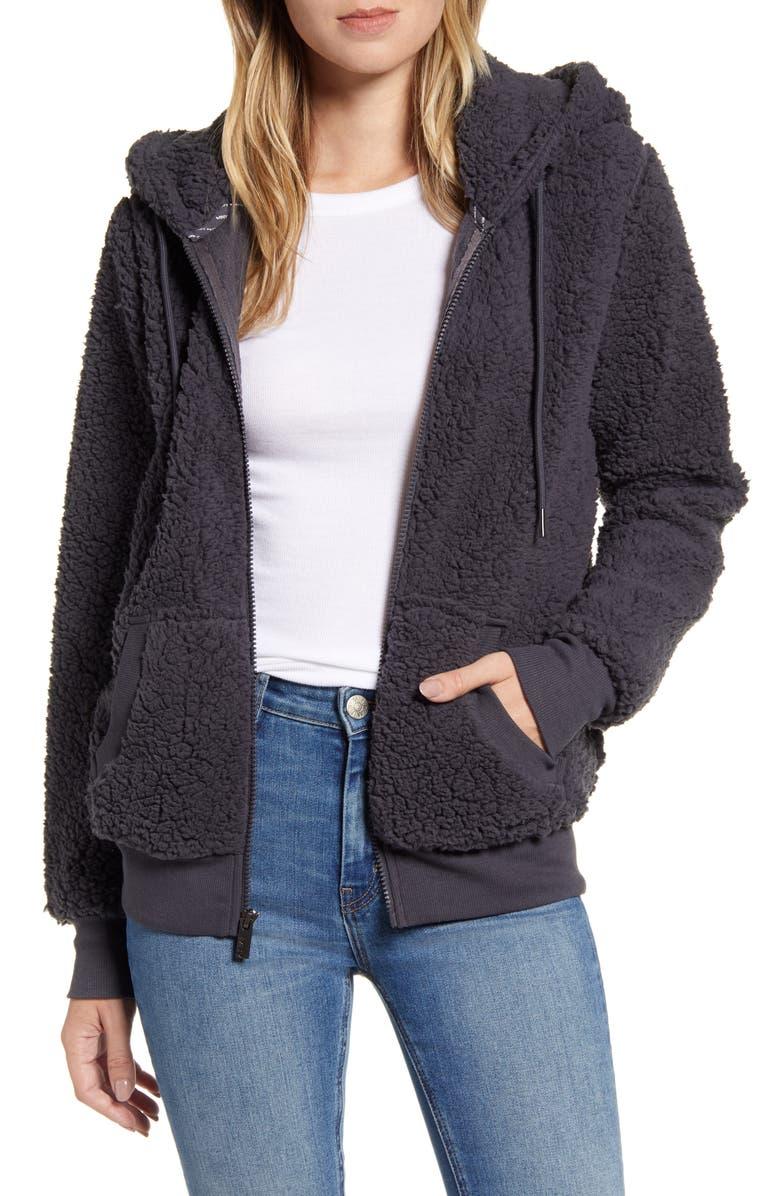 MARC NEW YORK Teddy Fleece Zip Jacket, Main, color, CHARCOAL