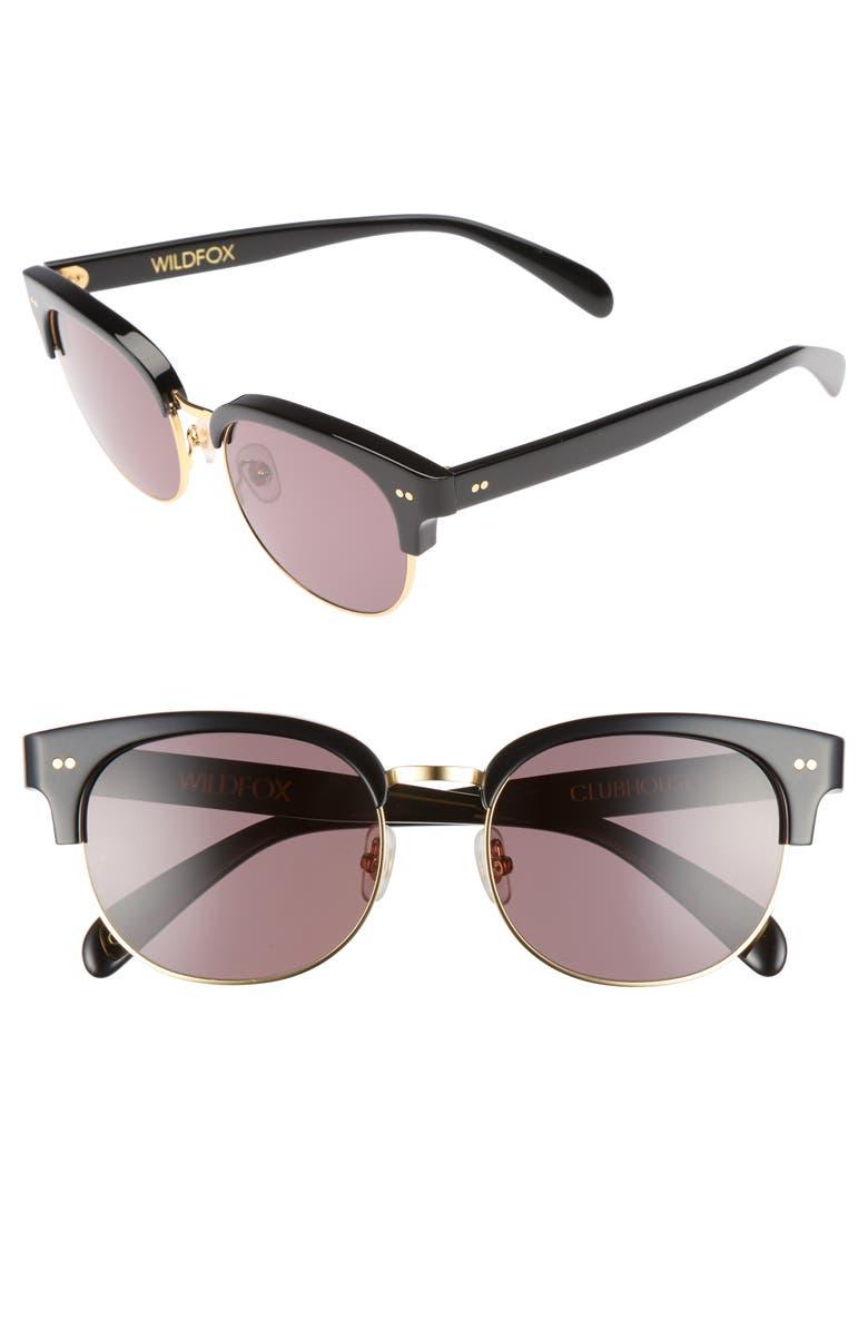WILDFOX Clubhouse 50mm Semi-Rimless Sunglasses, Main, color, 001