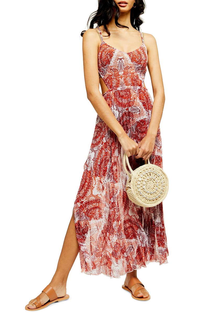 TOPSHOP Paisley Print Cover-Up Chiffon Maxi Dress, Main, color, RUST MULTI