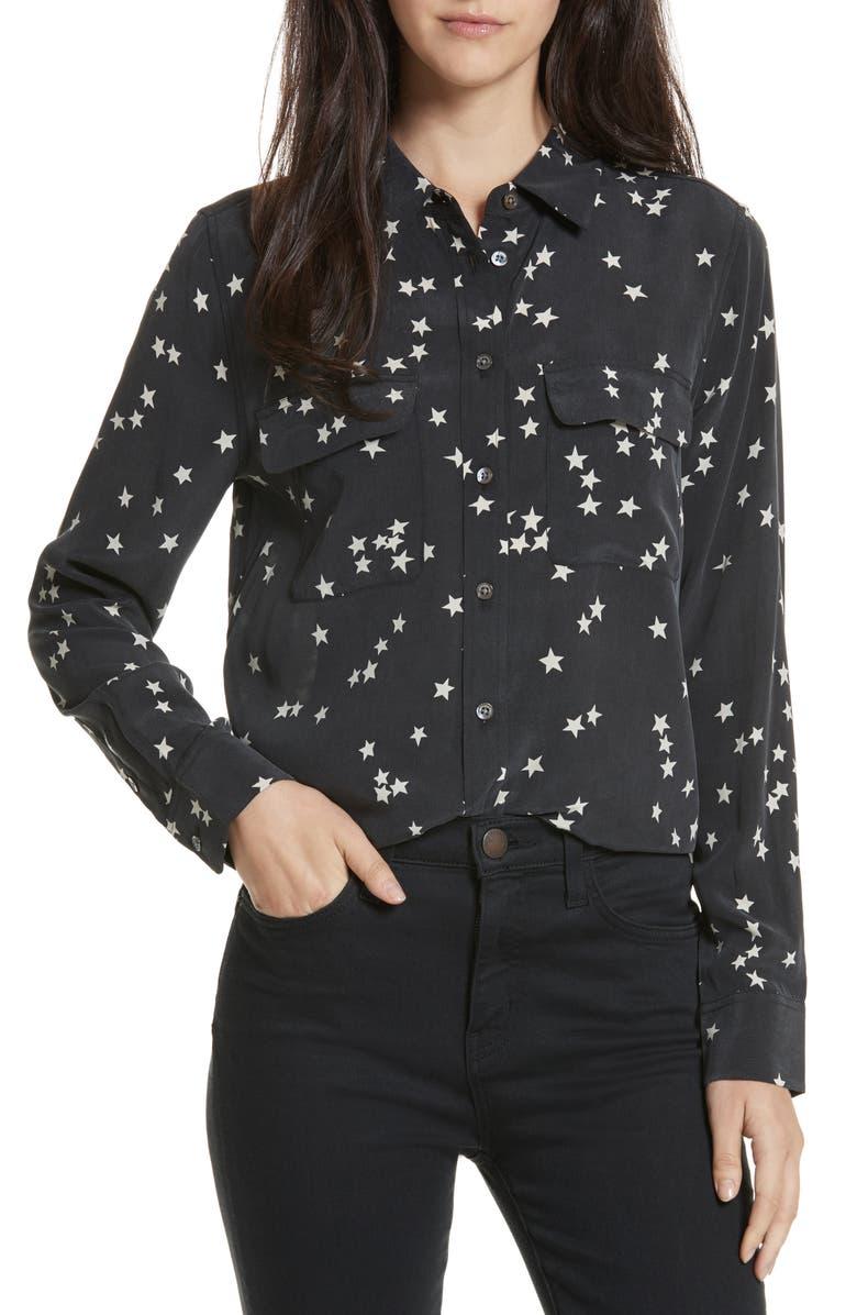 EQUIPMENT 'Starry Night' Silk Shirt, Main, color, BLACK
